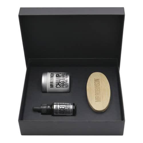 kit champú, aceite y cepillo para la barba